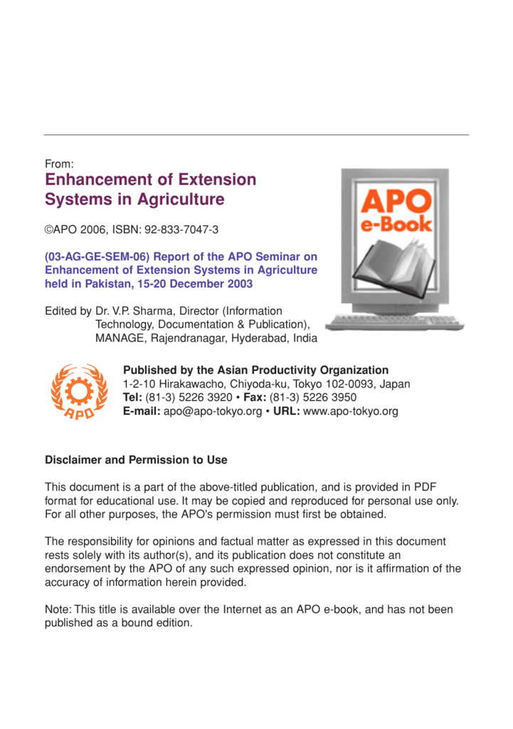 Enhancement Of Extension Systems In Agriculture