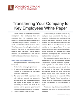 Transferring Your Company to Key Employees White Paper