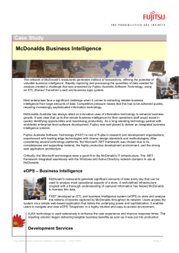 Case Study McDonalds Business Intelligence