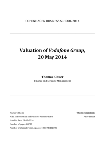 Valuation of Vodafone Group, 20 May 2014