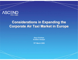 Considerations in Expanding the Corporate Air Taxi Market
