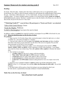 See attached math packet - Sacred Heart Parish School