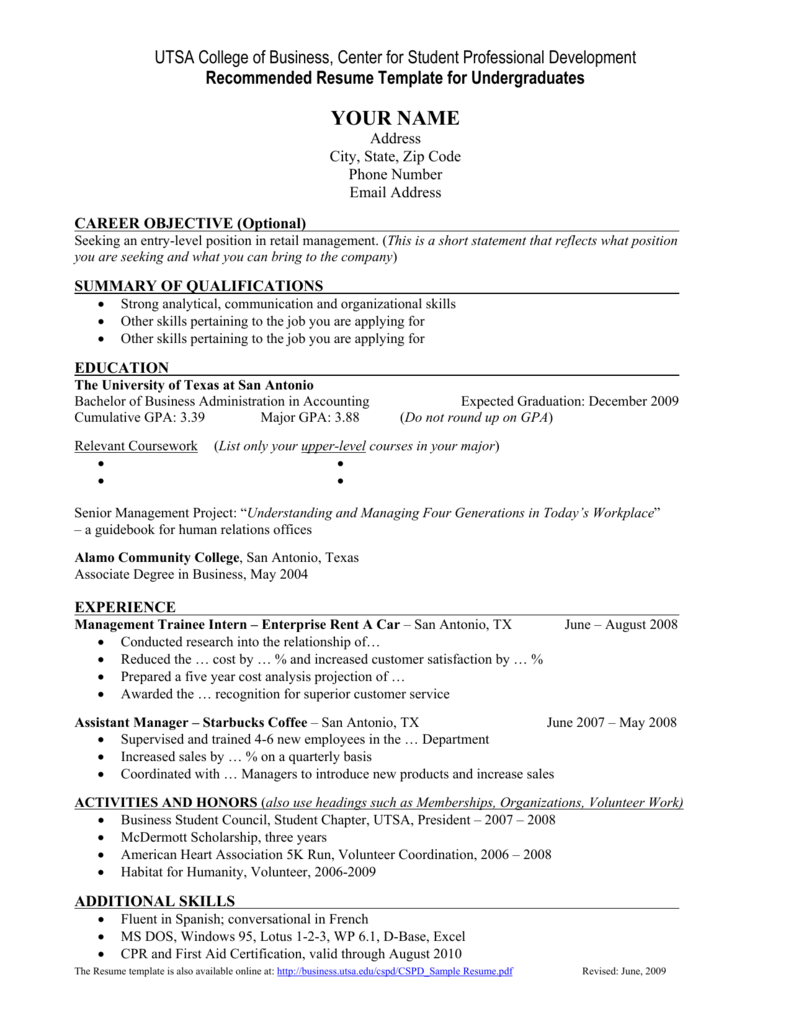 Sample Resume Utsa College Of Business