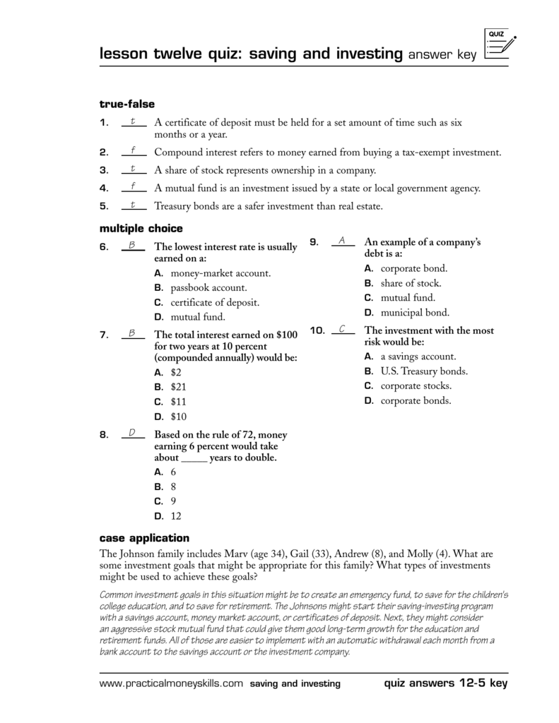 Chapter 11 saving and investing options answer key