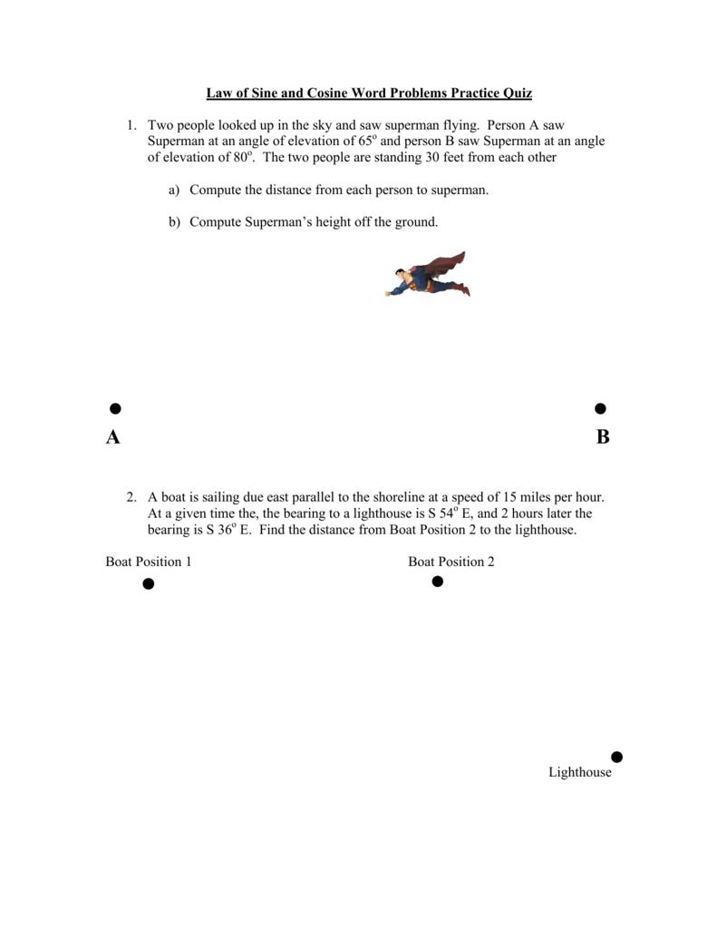 Law Of Sines Word Problems Worksheet Doc - Kidz Activities
