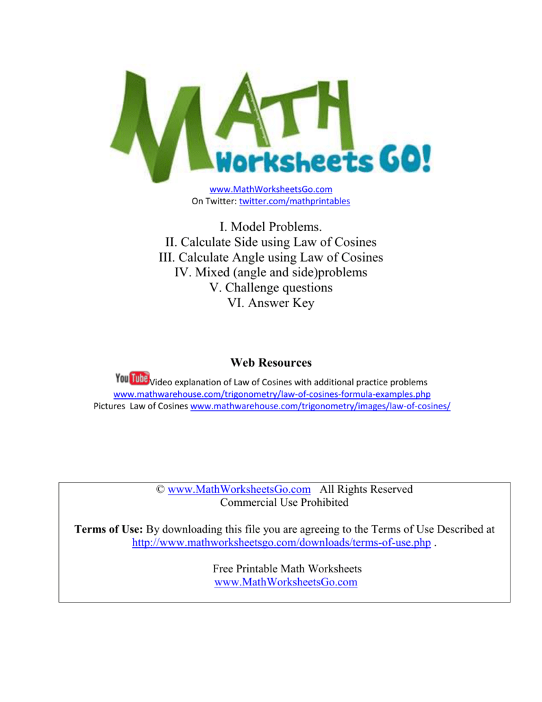 Law of Cosines Worksheet Ignacio School District – Law of Cosine Worksheet