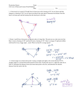 Pre Calculus Name Law Of Sines Cosines Word Problems