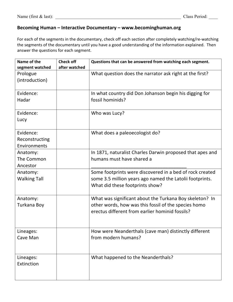 Becoming Human_Part 1 worksheets answers - NOVA Becoming Human ...