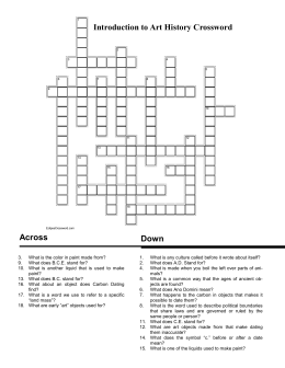 Across Down Introduction to Art History Crossword