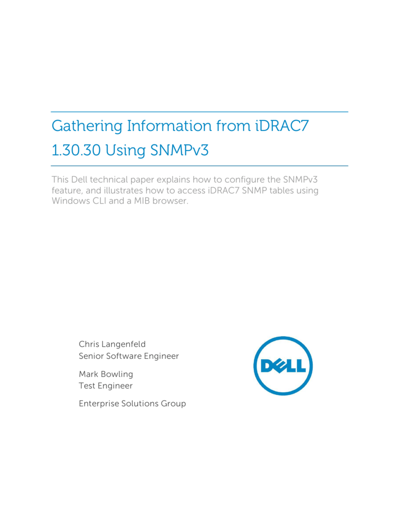 Gathering Information Using SNMP v3 from iDRAC7 1 30 30