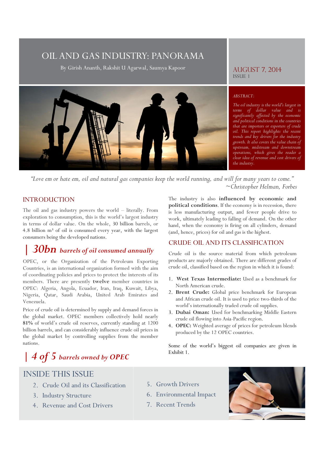 oil and gas industry: panorama