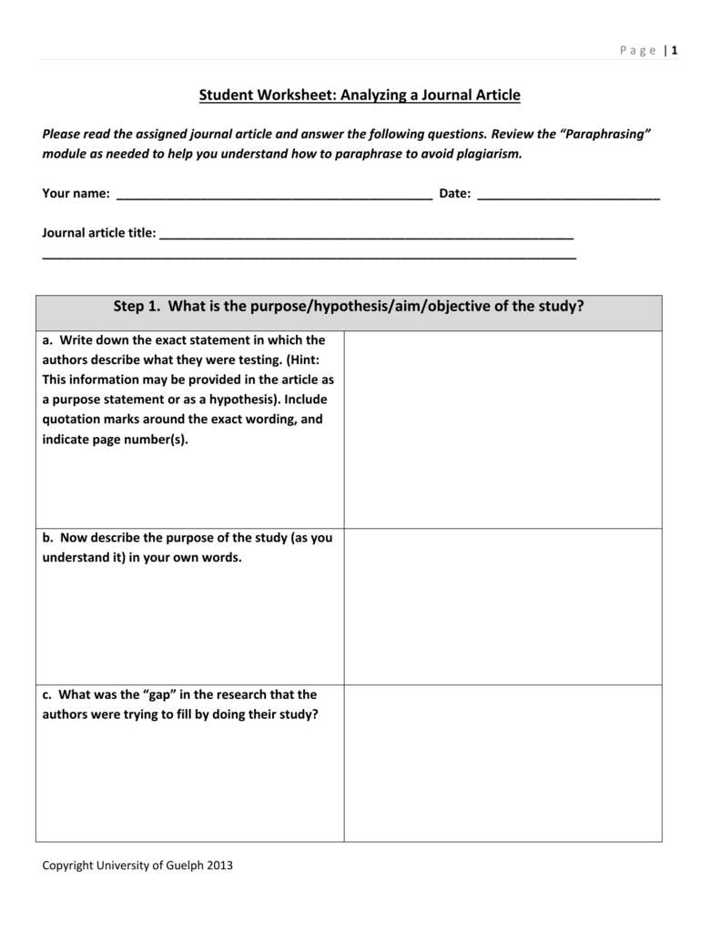 worksheet Paraphrase Worksheet student worksheet analyzing a journal article step 1 what is the