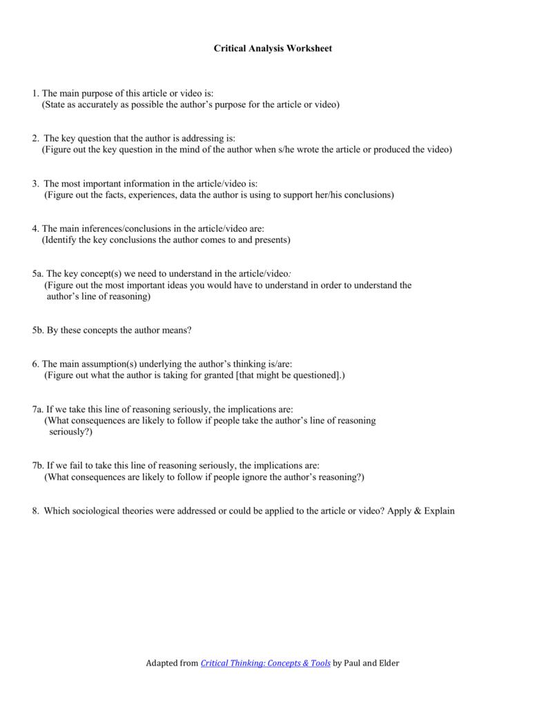 worksheet Author Purpose Worksheet critical analysis worksheet 1 the main purpose of this article or
