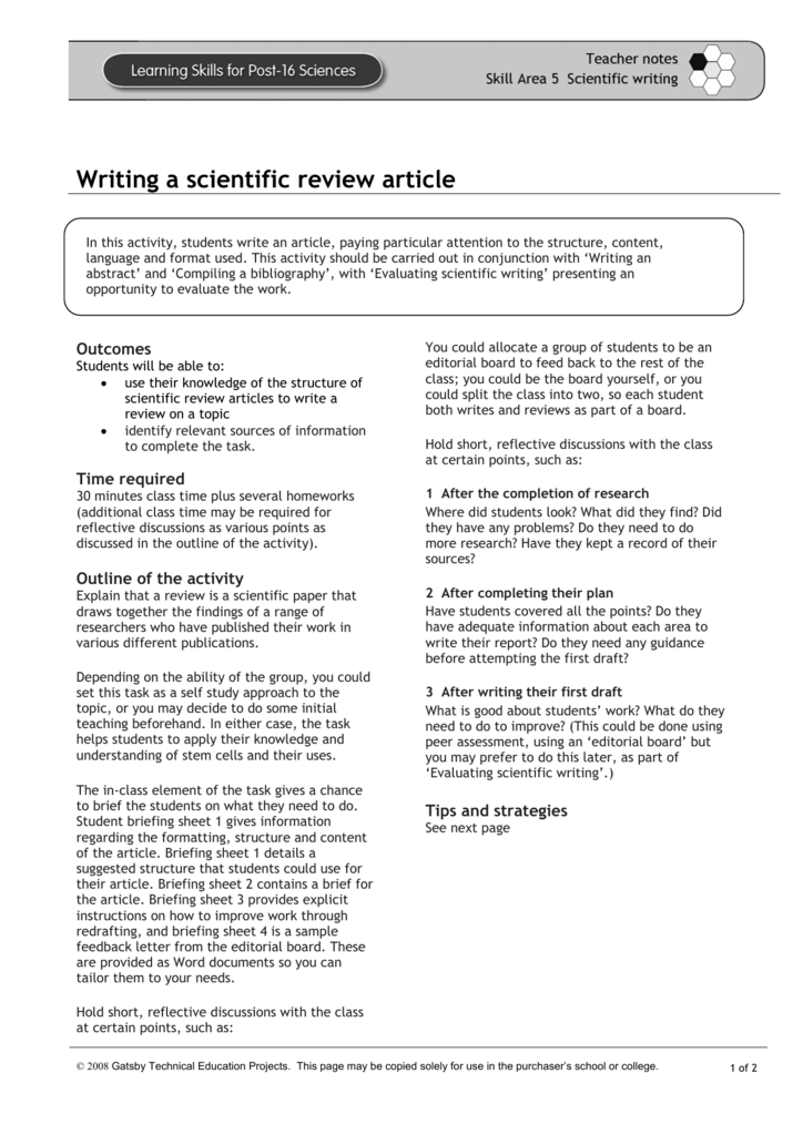 how to write scientific review article