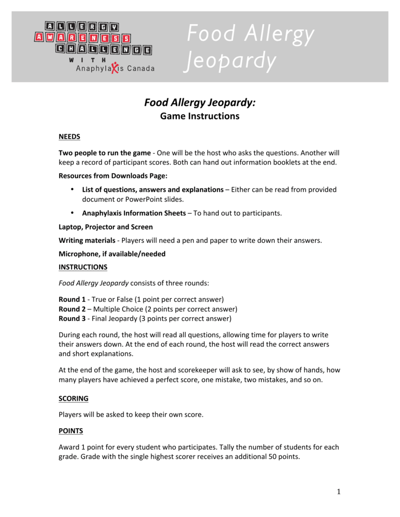 Food Allergy Jeopardy - Questions and Answers and Instructions
