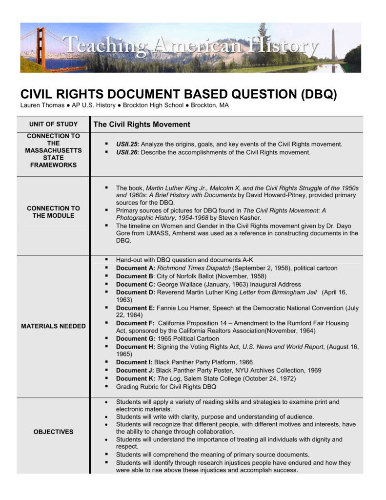 civil rights dbq essay List of document based questions dbq: in the post–civil war united how did the african american civil rights movement of the 1950s and 1960s address the.