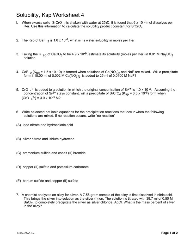 Solubility, Ksp Worksheet 4