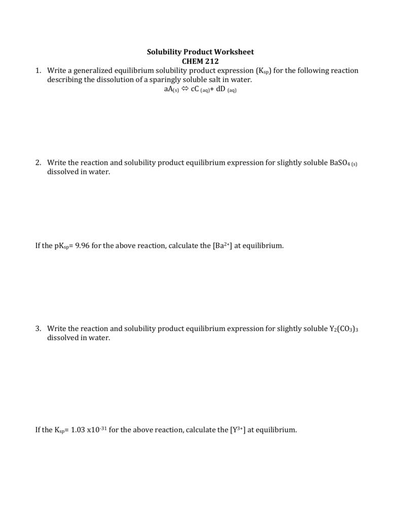 Solubility Product Worksheet - CHEM 212: Analytical Chemistry