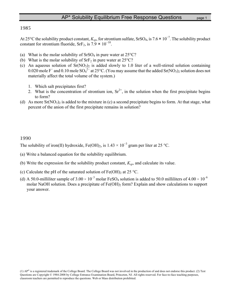 Ap Solubility Equilibrium Free Response Questions