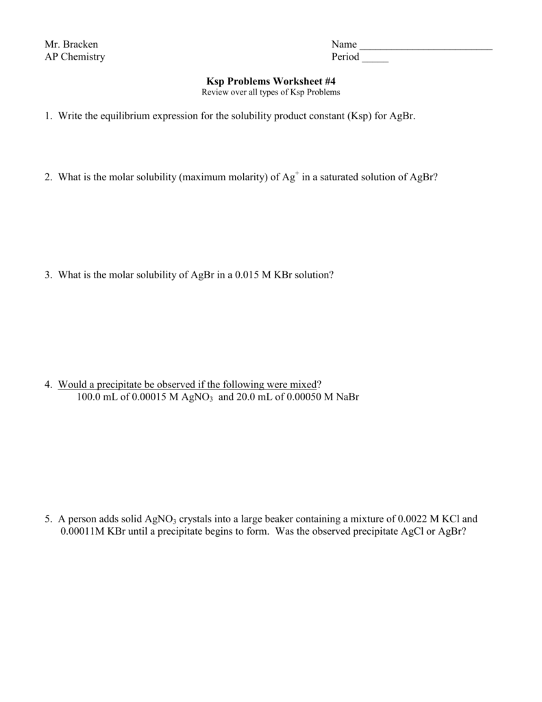 Uncategorized Molarity M Worksheet ksp 4 ap chemistry archive