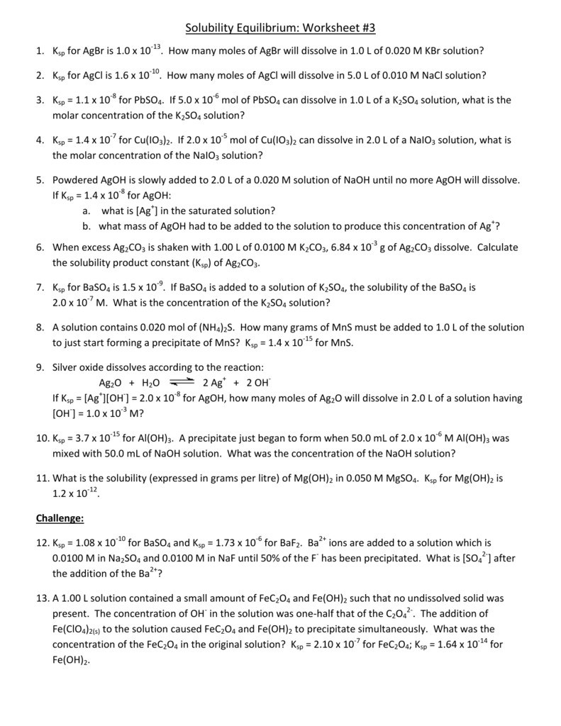 Solubility Equilibrium: Worksheet #3