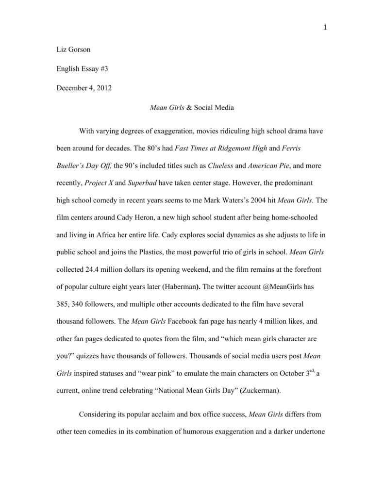 Essay On English Teacher  Sample Thesis Essay also Narrative Essay Example High School  Liz Gorson English Essay  December   Mean Girls English Model Essays