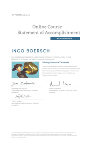 Online Course Statement of Accomplishment INGO BOERSCH