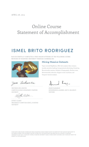 Online Course Statement of Accomplishment ISMEL BRITO