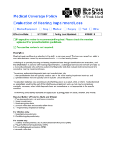 Medical Coverage Policy Evaluation of Hearing Impairment/Loss