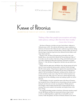 Krewe of Petronius - A History of Empty Places