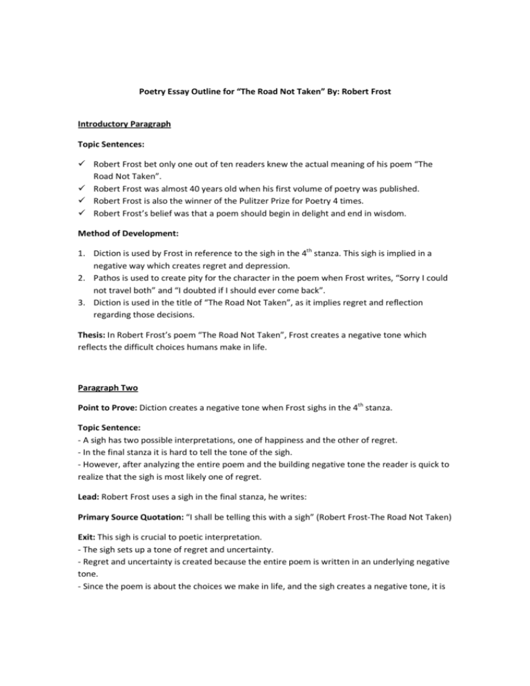 Critical essay on the road not taken cover letter for customer service representative free sample