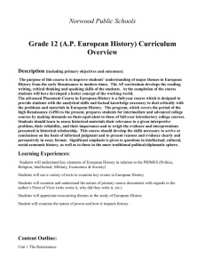 (AP European History) Curriculum Overview