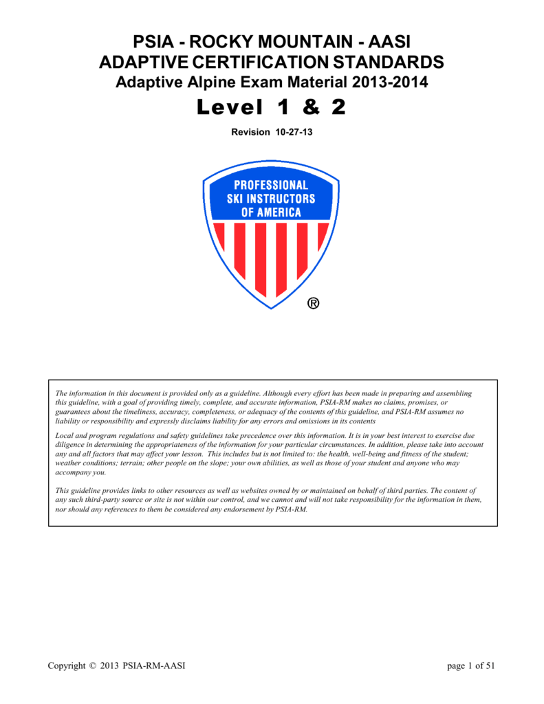 Psia Rm Adaptive Alpine Level 1 2 Exam Materials