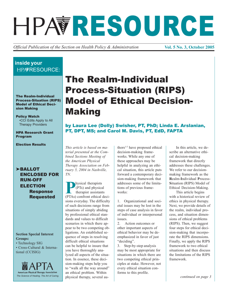 RIPS) Model of Ethical Decision- Making
