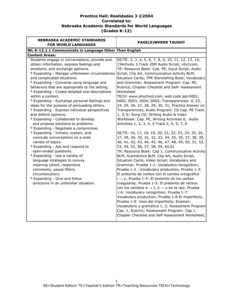 Workbooks practice workbook realidades 3 answers : Realidades 3 ©2004 Correlated to
