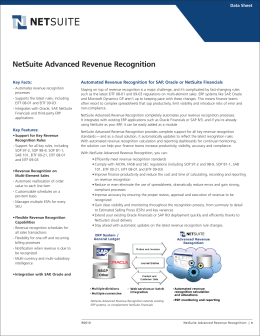 NetSuite Advanced Revenue Recognition
