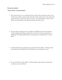 "ENGL 245/CWL 267, 9-3 Discussion questions ""Sonny's Blues,"" by"