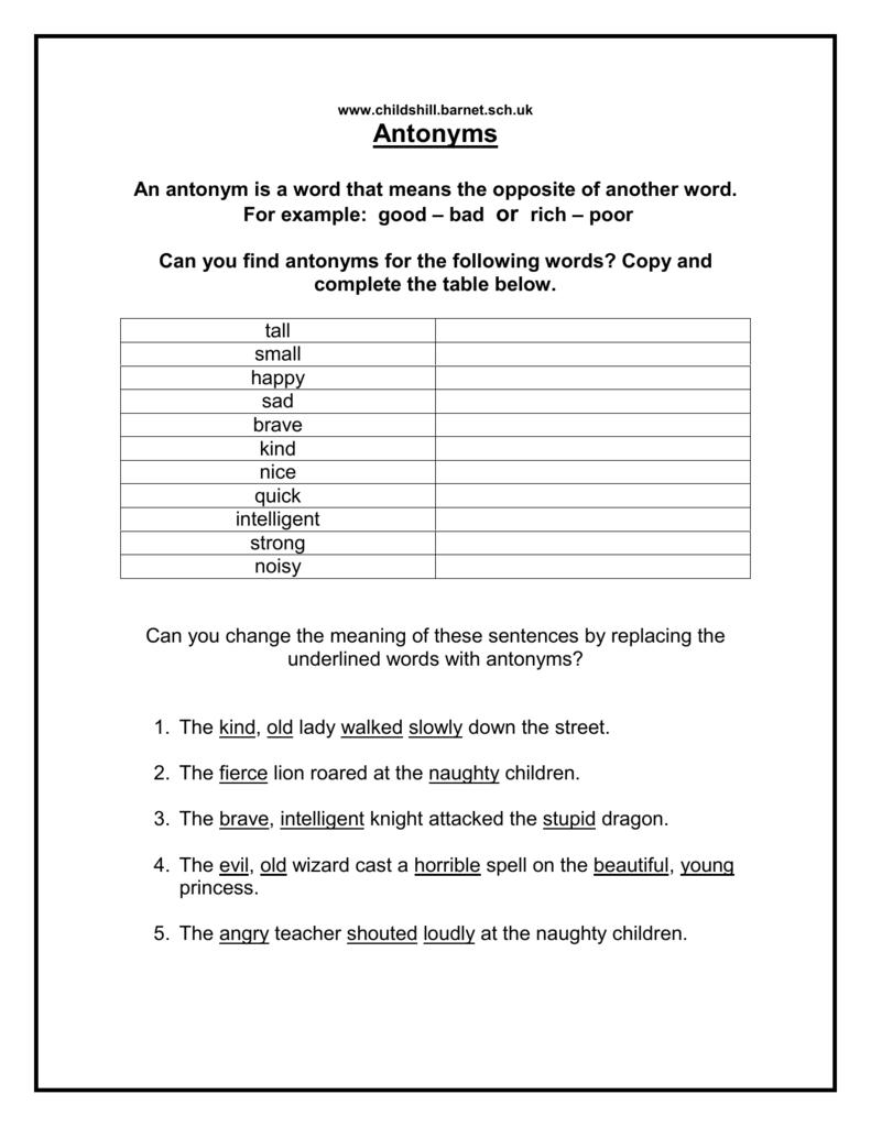 Antonyms Primary Resources