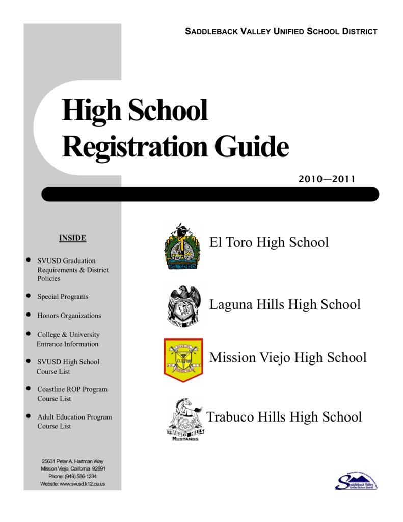 High School Registration Guide - Saddleback Valley Unified