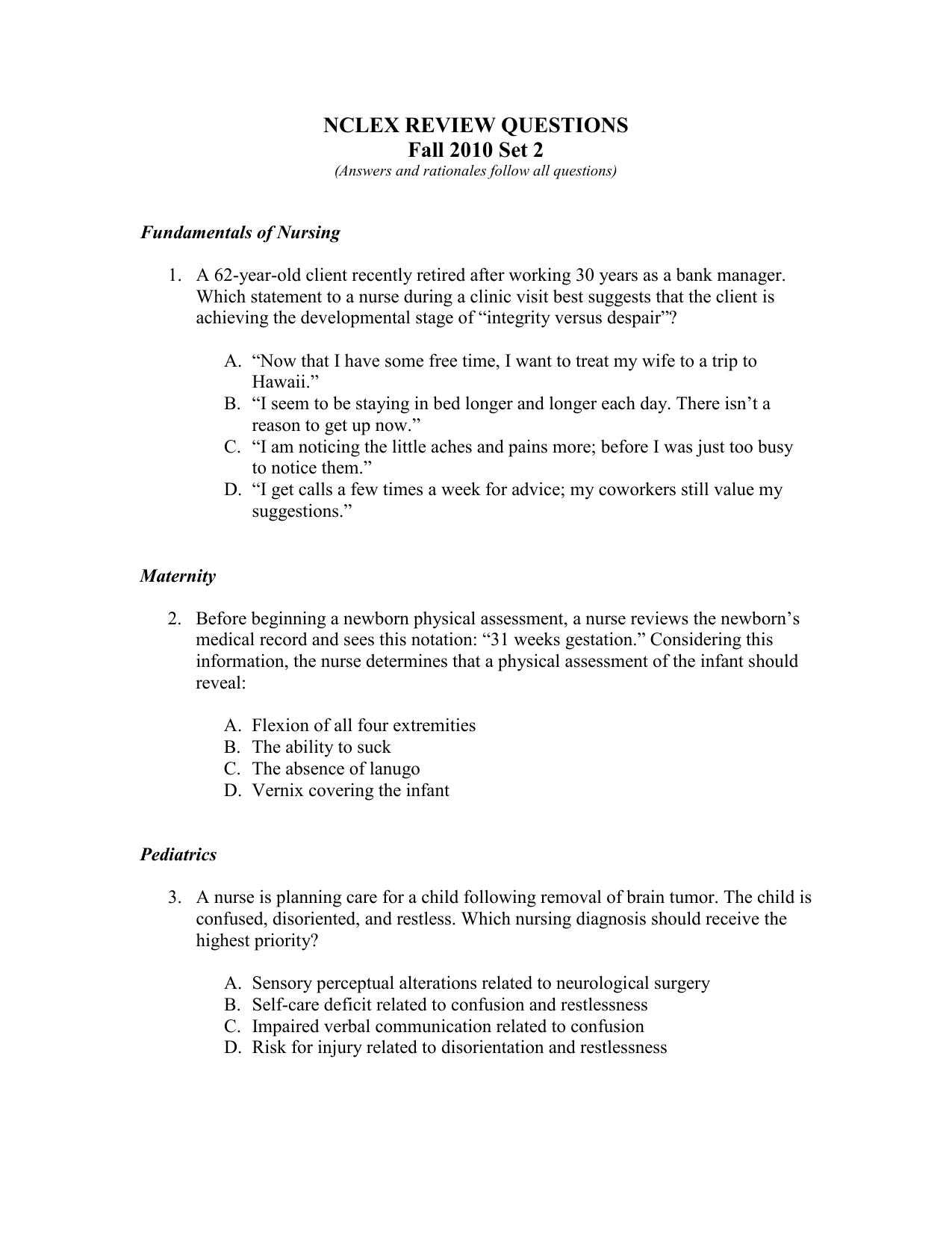 NCLEX QUESTIONS #4