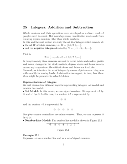 25 Integers: Addition and Subtraction