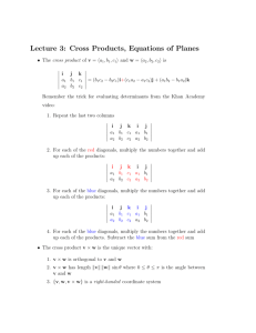 Lecture 3: Cross Products, Equations of Planes