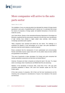More companies will arrive to the auto parts sector