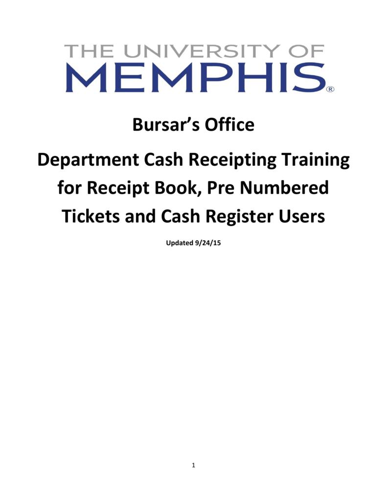 bursar s office department cash receipting training for receipt