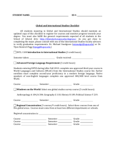 STUDENT NAME: ID #: Global and International Studies Checklist
