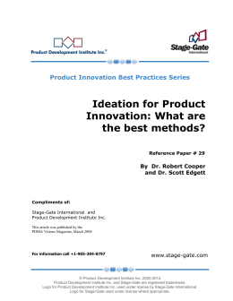 Ideation for Product Innovation: What are the best - stage