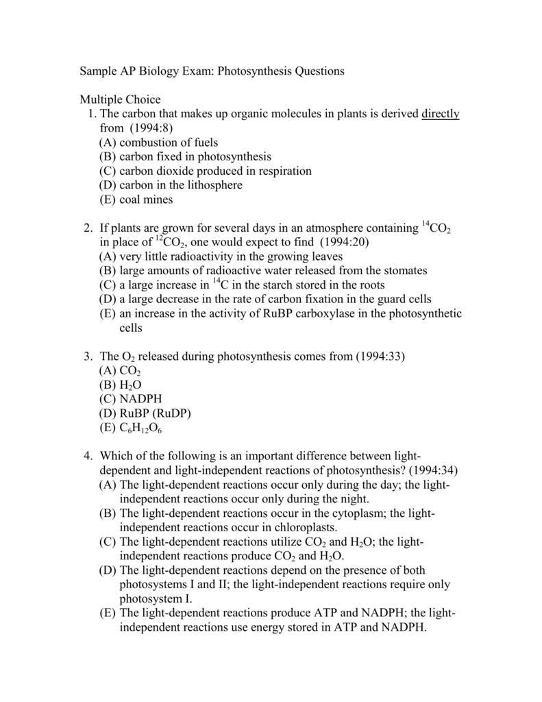 Sample AP Biology Exam: Photosynthesis Questions