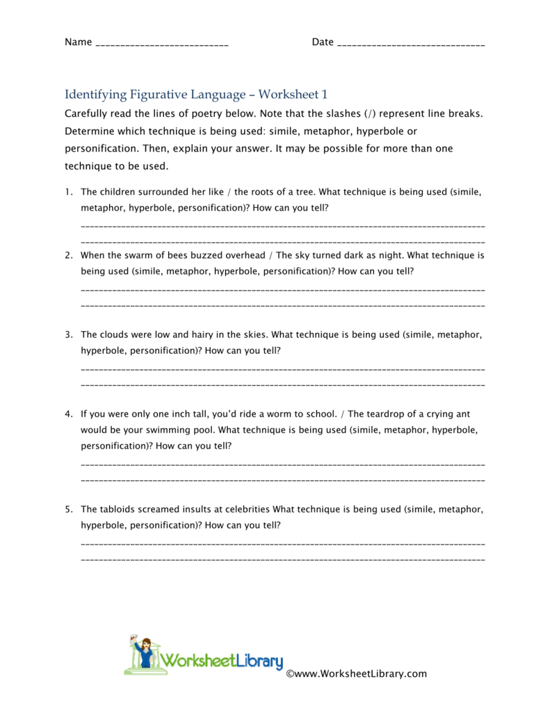 worksheet Figurative Language Worksheets For Middle School identifying figurative language worksheet 1