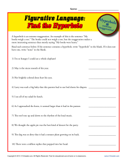 Figurative Language: Find the Hyperbole | Printable Worksheets