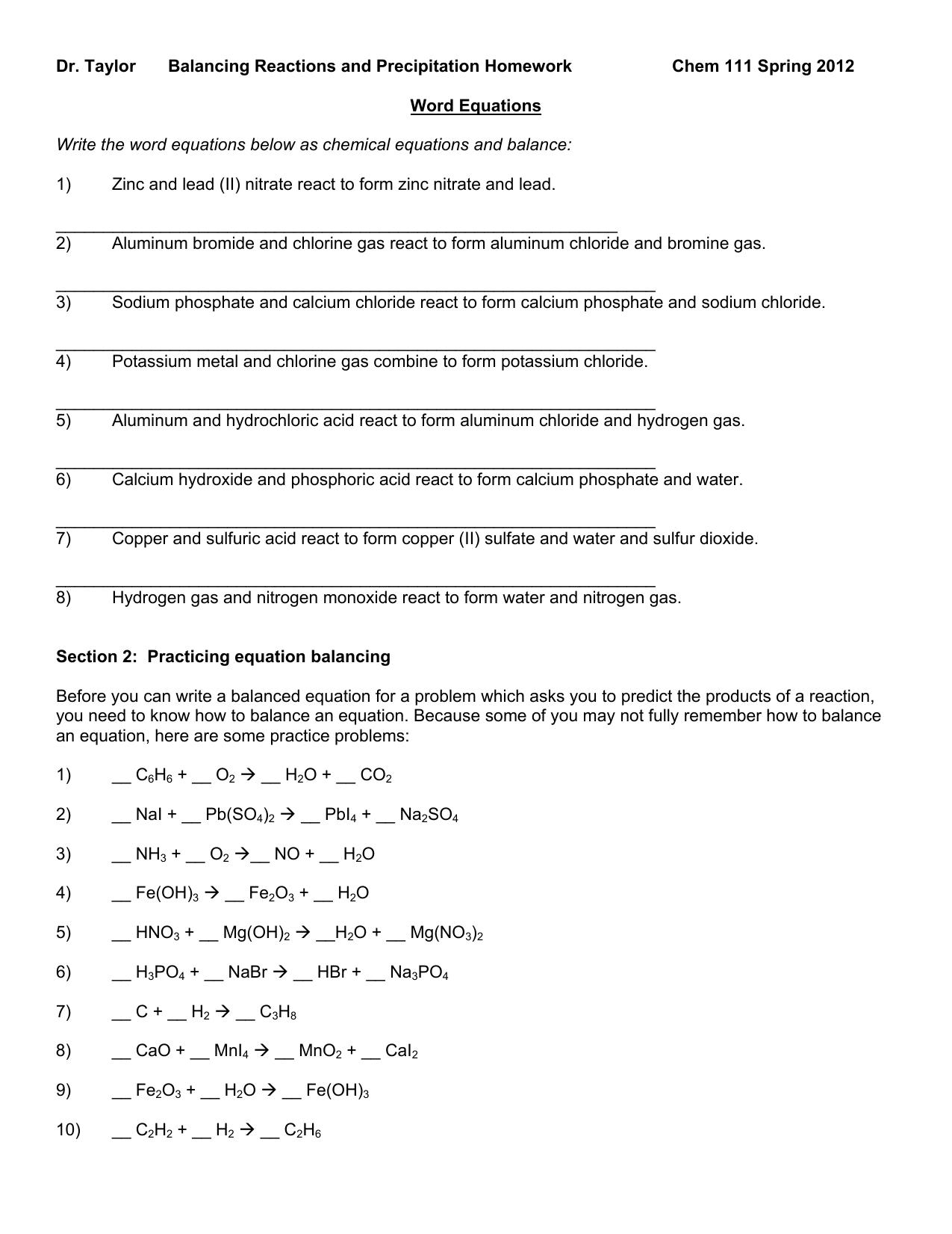 Balancing Chemical Equations | Free Homework Help
